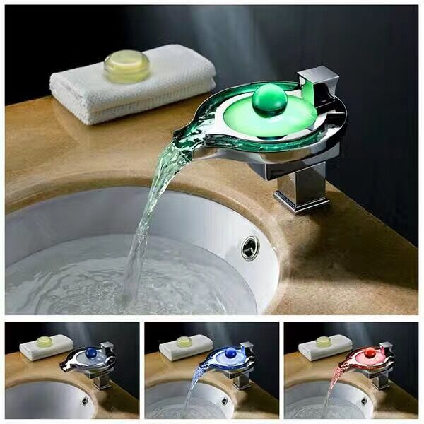 Handle Waterfall Led Faucet Deck Mounted Bathroom Brass Basin Faucet